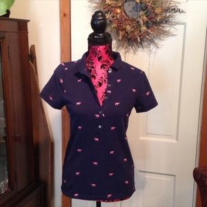 J. Crew Navy and Pink Elephant Polo